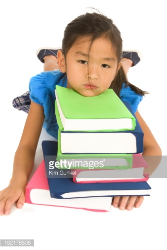 girl with books stressed